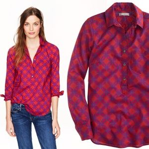 [J. Crew] Popover Button Down Geometric Red Shirt